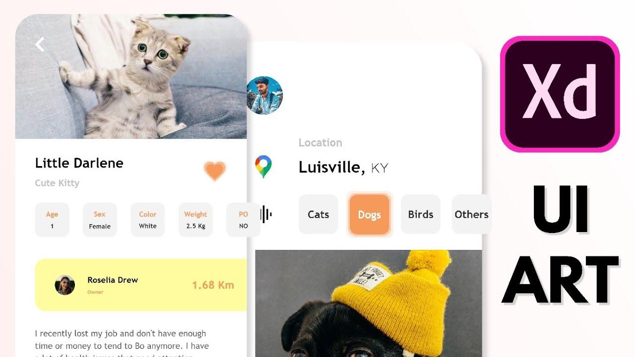 Pet Finder App UI Design in Adobe XD | SpeedArt | Simple | Clean | UI