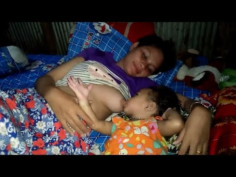 Breast Feeding  Way In Bangladesh At Night Cute Baby (Educational Video)