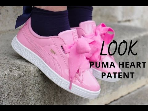 basket puma heart patent rose