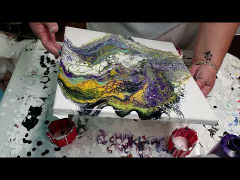 HAPPY NEW YEAR!!! Acrylic Pour Painting – with Floetrol and Acrylic Paint, Purple, Yelloworange