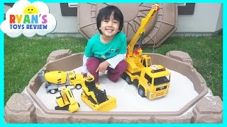 Step2 Sandbox Construction Vehicles Dump Truck with Toy Cars and Trains