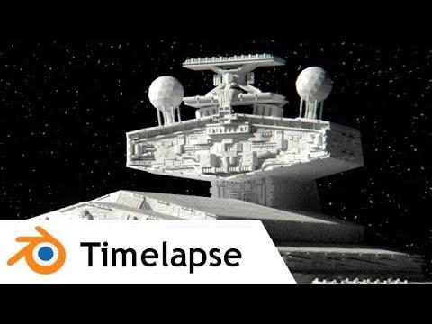 Imperial Star Destroyer (Star Wars / Rogue One) - Blender Timelapse
