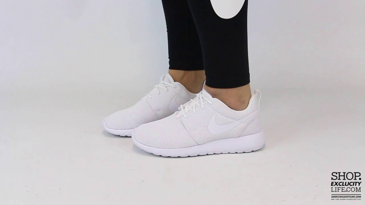 701133a1fbc2 Women s Nike Rosherun Triple White On feet Video at Exclucity - YouTube