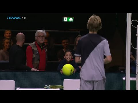 Agony then ecstasy! Andrey Rublev makes a little boy's day in Rotterdam