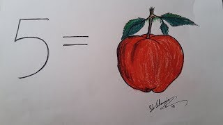Best Trick For Childrens | How To Draw Apple From Number 5 Using Pencil
