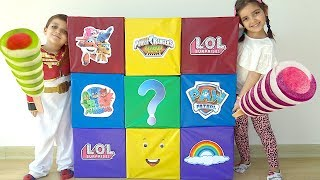 Azra ve Selim Dev Sürpriz Kutuda Sürpriz Yumurta Bulma Challenge Toybox LOL Harika Kanatlar dondurma