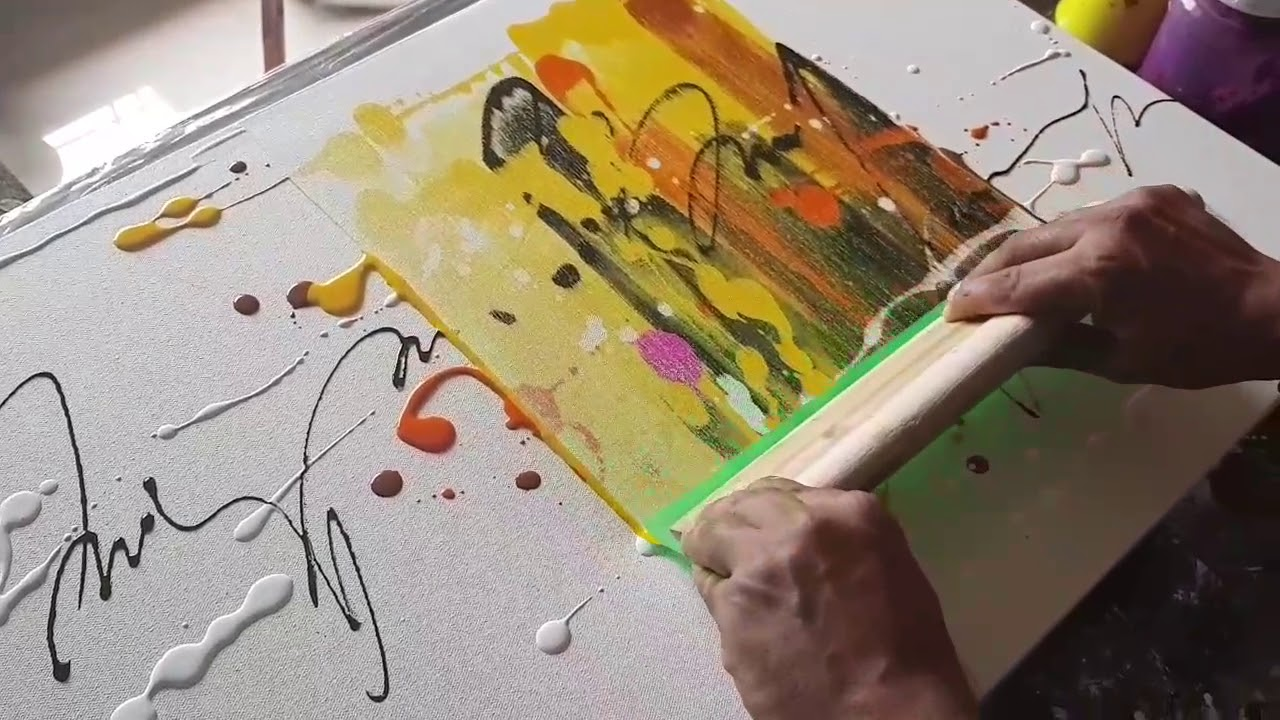 Abstract Painting Just Using Rubber Squeegee Acrylics Demonstration