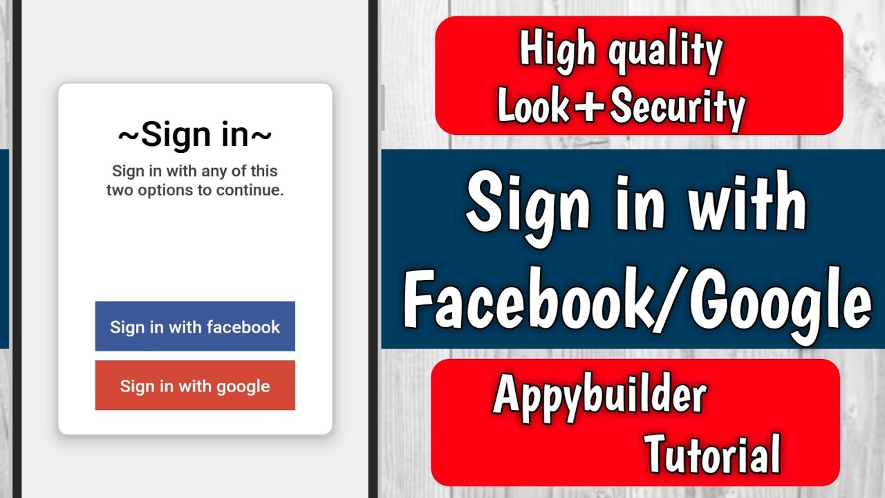 Appybuilder tutorial: Sign in with facebook or google || With  aia file