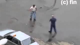 taxi dirvers fight    roadrage in Russian parking lot   YouTube