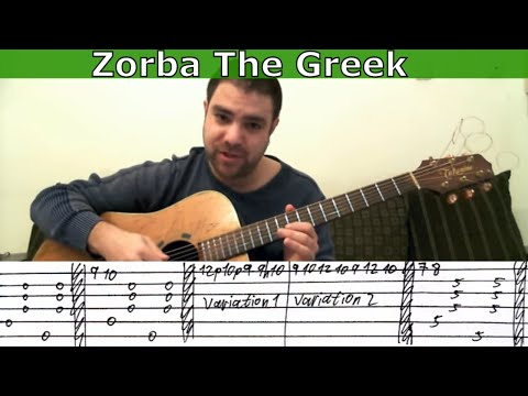 Tutorial: Zorba the Greek - Fingerstyle Guitar w/ TAB