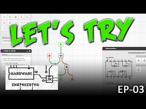 Let's Try: Hardware Engineering - EP03 - Full adder and 4-bit bus math! (Gameplay)