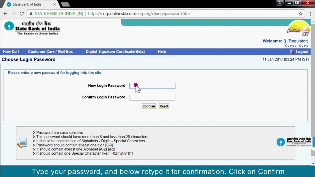 Sbi Vistaar Regulator First Time Login And Change Of User Id