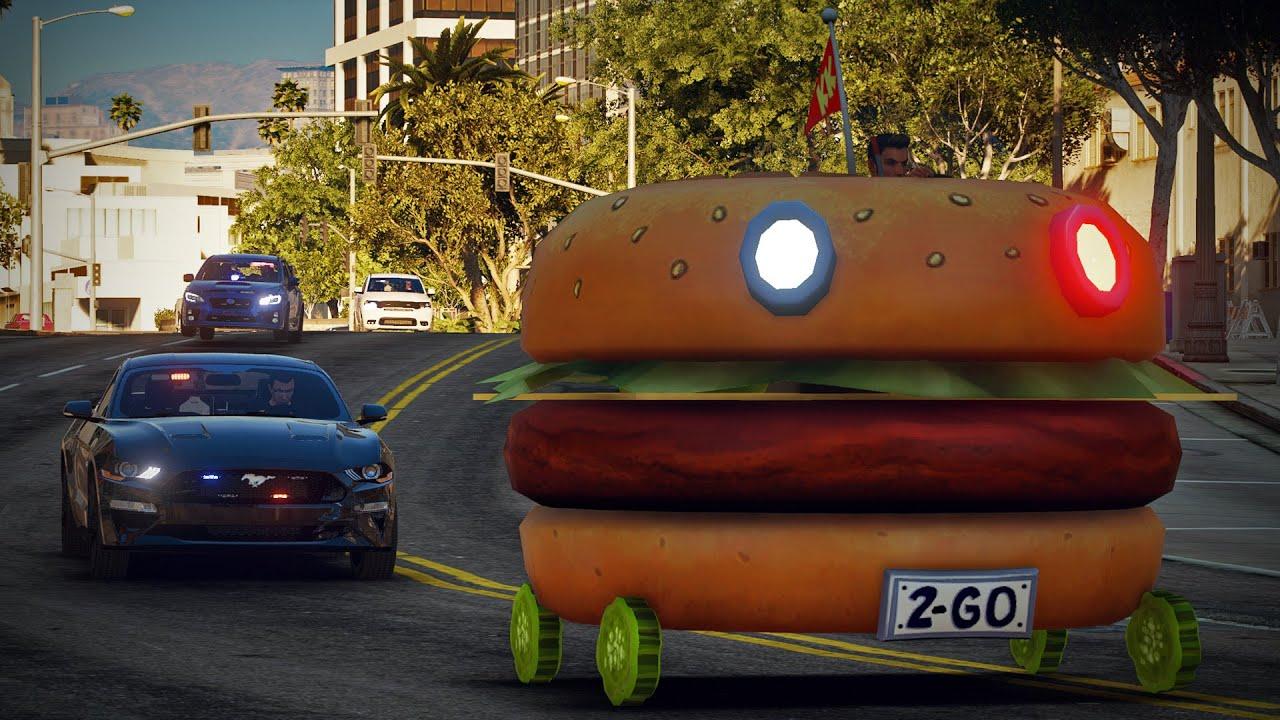 Stolen Burger Car Pursuit!