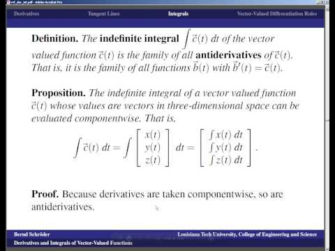 Concise Modular Calculus [67/97]: Derivatives and Integrals of Vector-Valued Functions