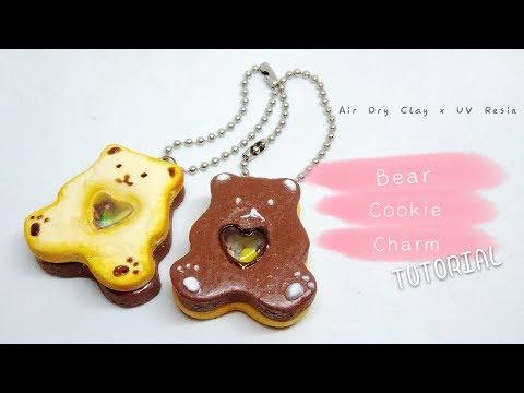 Valentine Bear Cookie Shaker Charm Tutorial - Air Dry Clay x UV Resin DIY