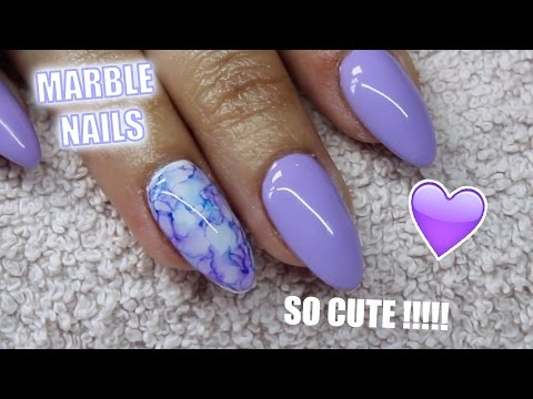ACRYLIC NAIL INFILL AND LILAC MARBLE DESIGN USING SHARPIES