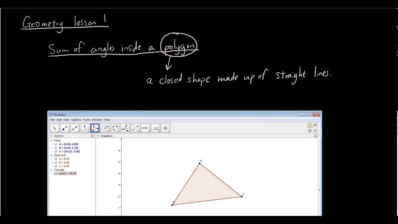 Geometry with geogebra lesson 1 - Angles in a triangle