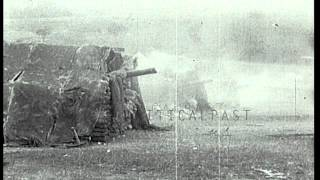 A fire from a BL 6 inch Gun Mk VII gun inside a military tent in France during Wo...HD Stock Footage