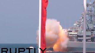 Rocket crashes during naval parade in Sevastopol