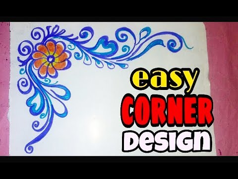 Best and Easy Corner Design to draw on Project    Simple but Colorful  Corner design on Paper