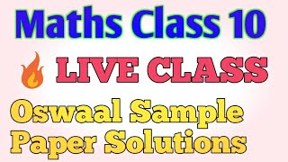 Oswaal Sample Paper Solutions  2020 || Maths Live Class