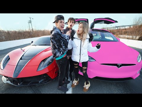I RACED my GIRLFRIEND for $10,000! (Tesla vs Ferrari)