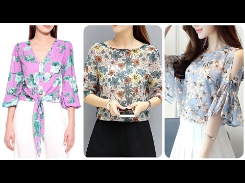 Latest And Most Demanding Floral Print Blouse Designs Chiffon And Floral Print Knot And Hem Blouse
