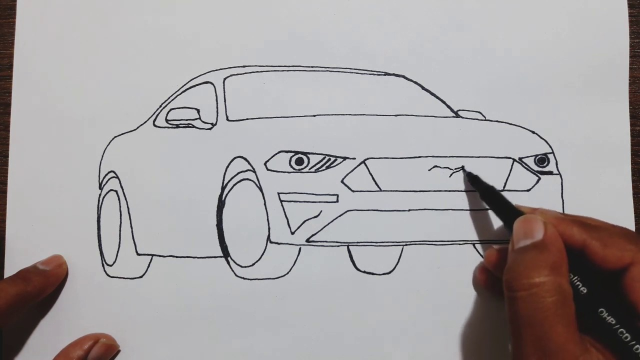 How To Draw Ford Mustang Car Step By Step Youtube