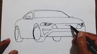 How to draw Ford Mustang car step by step