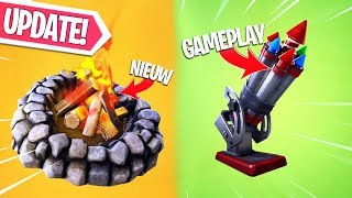 NIEUWE UPDATE!! BOTTLE ROCKETS & ENVIRONMENTAL CAMPFIRE GAMEPLAY! Fortnite Battle Royale LIVE