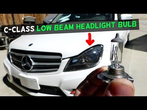 MERCEDES W204 LOW BEAM HEADLIGHT BULB REPLACEMENT C250 C300 C350 C200 C220 C280