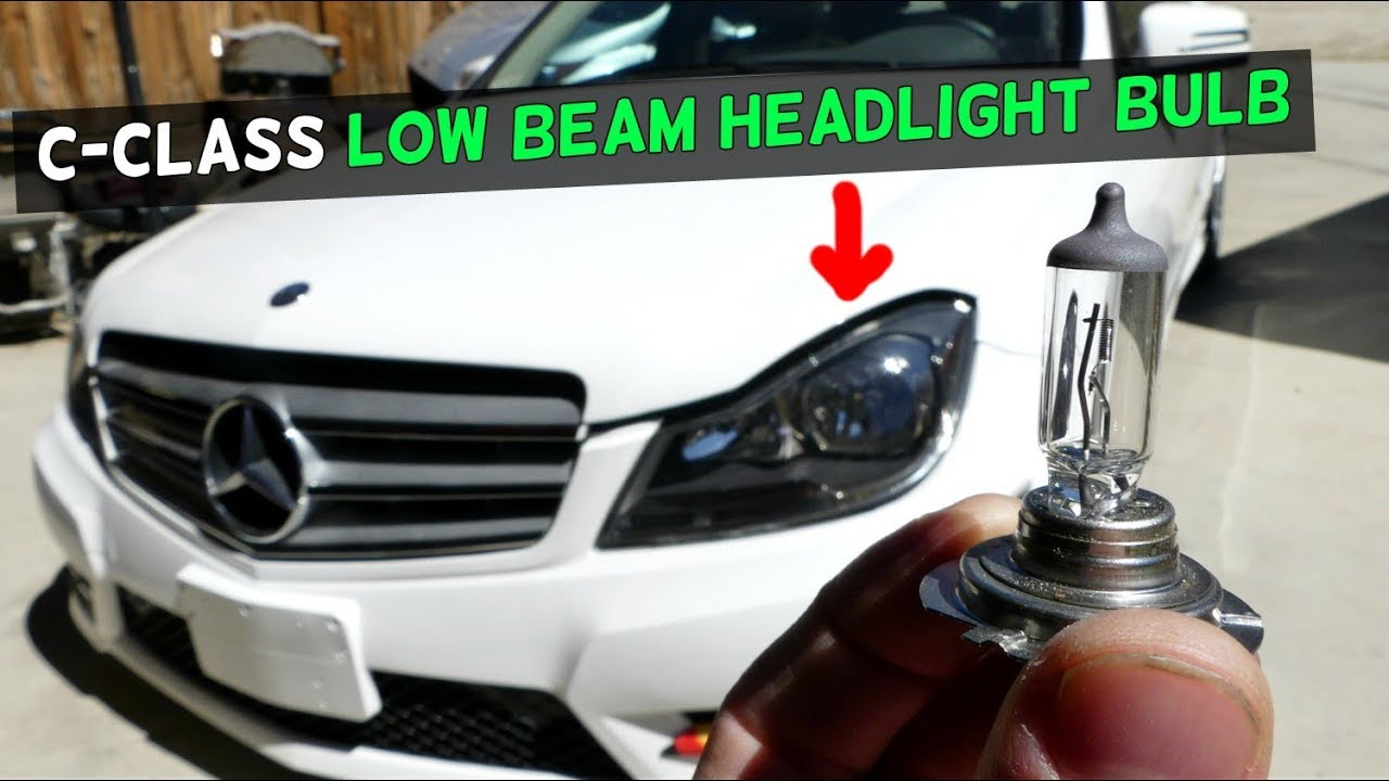MERCEDES W204 LOW BEAM HEADLIGHT BULB REPLACEMENT C250 C300 C350 C200 C220  C280