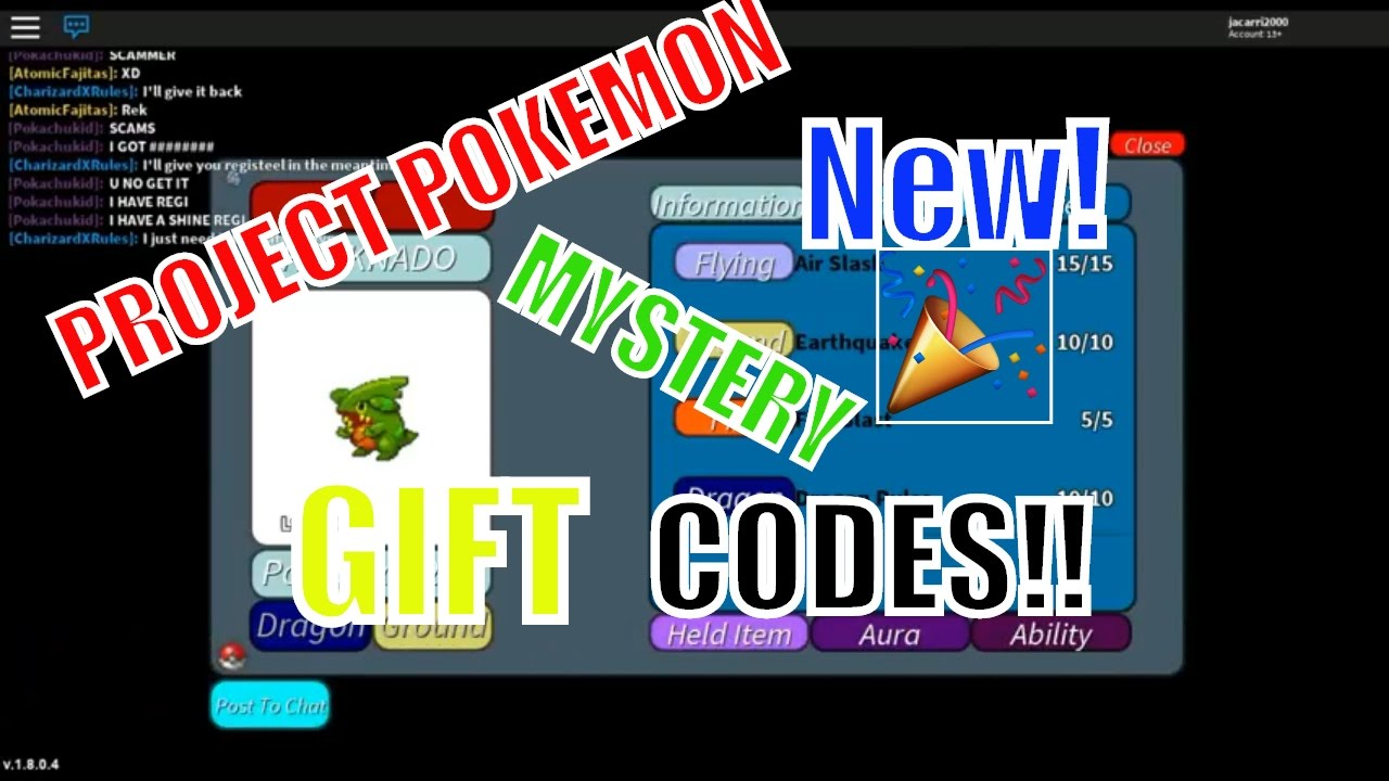 Project Pokemon NEW Mystery GIFT CODES!!! [March 2017!] | ROBLOX - YouTube