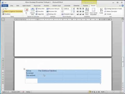 MİCROSOFT WORD 2010 GÖRSEL VİDEO EĞİTİMİ-Word Tablo Ekleme ve Düzenleme