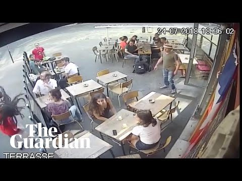 Woman shares footage of assault by street harasser at Paris cafe