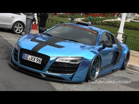 CHROME Audi R8 V10 driving in Monaco - YouTube