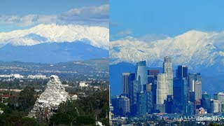 [4K] Snow-capped Mountains as seen from Disneyland & Downtown L.A - Mavic Pro