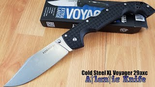 COLD STEEL VOYAGER XL LOCKBACK BLACK HANDLE STAINLESS FOLDING KNIFE 29AXC