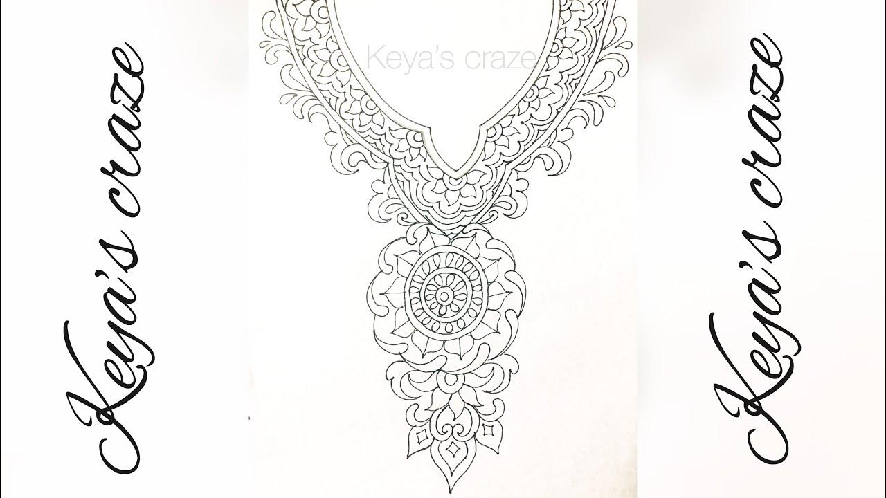 Neckline Drawing : Neckline design drawing tutorial for kameez kurti how