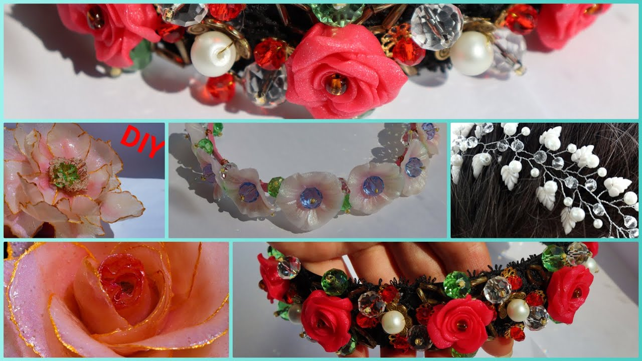 Hair jewelry made of polymer clay. My works, Valentina flowers DIY
