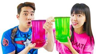 컬러 누들 젤리 라면 먹방해요 Color noodle Mukbang eating show | MariAndKids Vlog