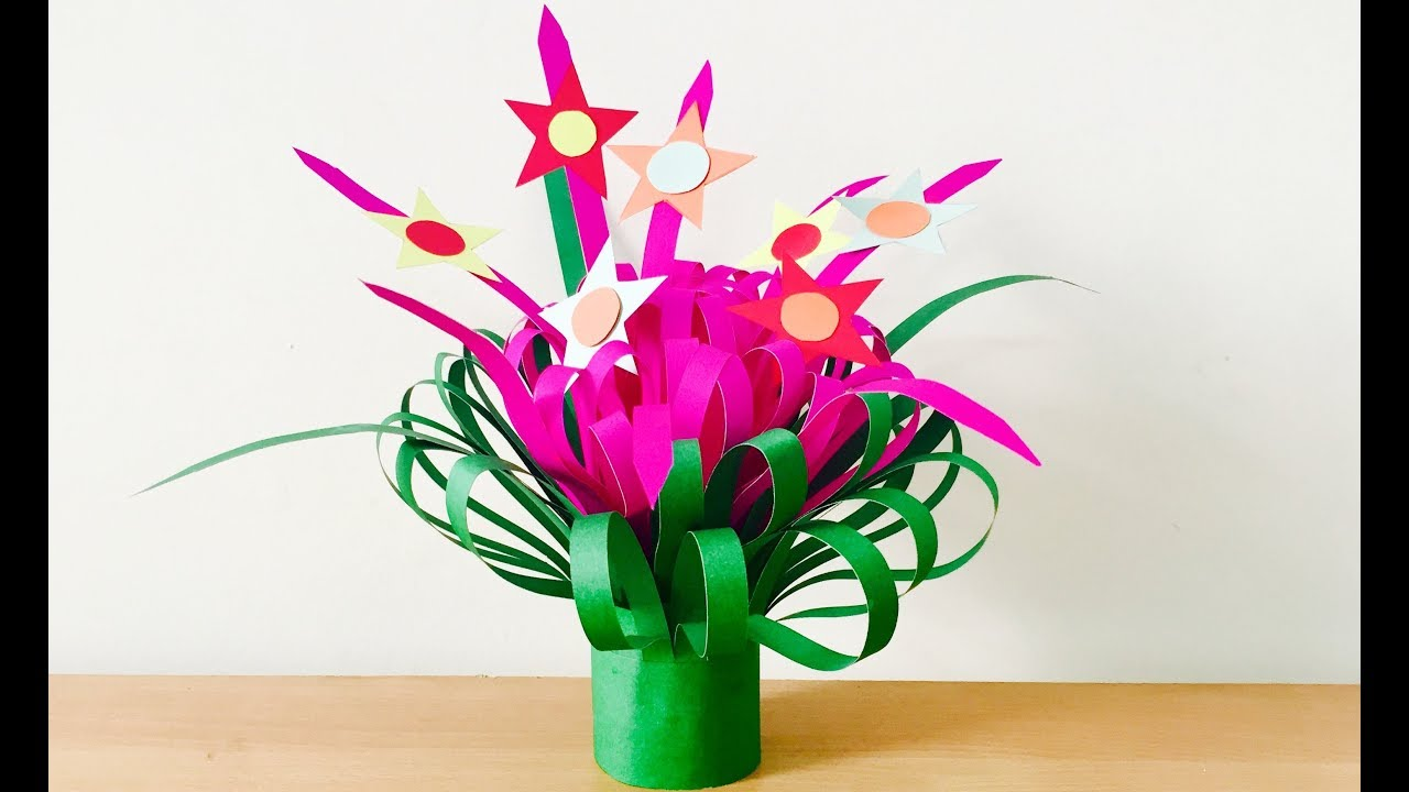 paper flower bouquet making at home