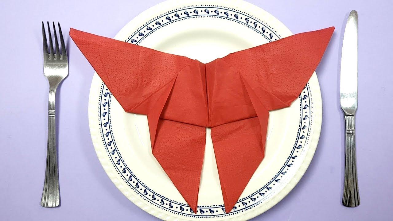 Pliage De Serviette En Forme De Papillon Pour Noel Youtube