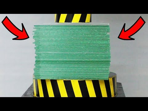 EXPERIMENT HYDRAULIC PRESS 100 TON vs 50 Sheets of Glass