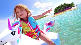 welcome to UNiCORN iSLAND!! a Family Day at the Beach! first time swimming across the lake with kids