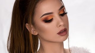 FALL Inspired Makeup Tutorial | Matte Brown & Orange Smokey Eye