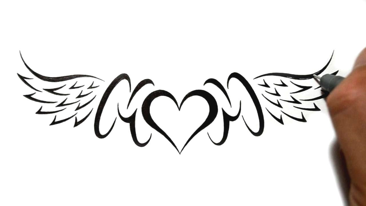 a3ccbb009 Drawing Mom with a Heart and Wings Lowerback Tattoo Design - YouTube