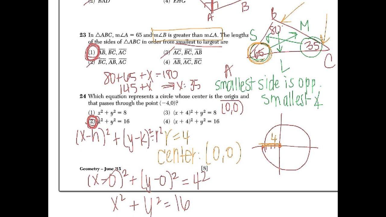 Geometry Regents Exam 2 June 2015 Questions 21 - 28 ...
