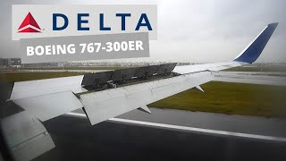 Delta Airlines ✈️Boeing 767-300ER, Overcast Landing in Brussels 🇧🇪 from Atlanta 🇺🇸