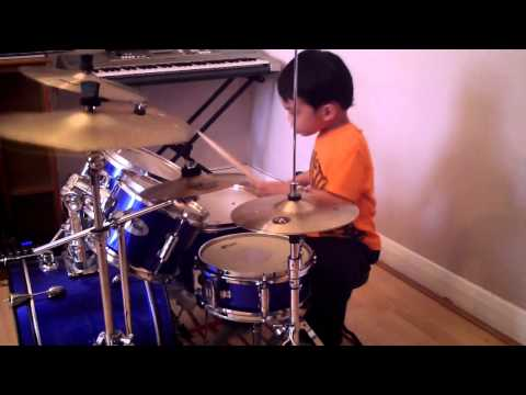 Bruno Mars - Locked Out Of Heaven Drum Cover, 4-Year-Old Drummer